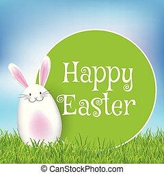 påsk, bakgrund, med, söt, kanin, in, gräs