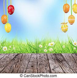 påsk, begrepp, med, färgade ägg, och, trä plankor