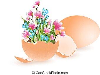 påsk, dekorerat, ägg