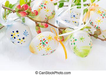 påsk egga, på, a, blomma treen, filial