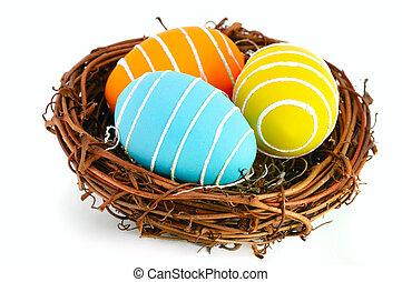 påsk eggar, in, a, bygga bo, på, a, vit, bakgrund.