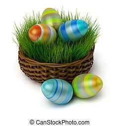 påsk eggar, in, a, korg, med, a, gräs