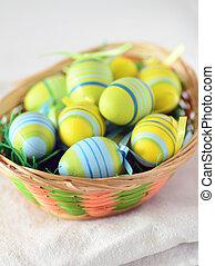 påsk eggar, in, a, korg