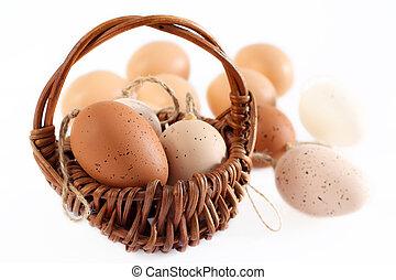 påsk eggar, in, basket.