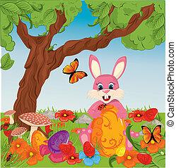 påsk eggar, in, gräs, med, kanin
