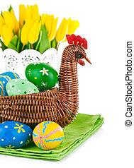 påsk eggar, in, korg, med, blomningen