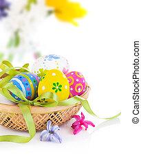 påsk eggar, in, korg, med, bog