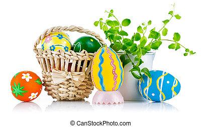 påsk eggar, in, korg, med, fjäder, bladen