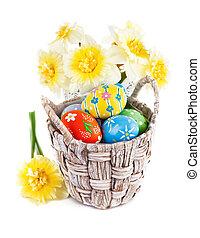 påsk eggar, in, korg, med, vår blommar