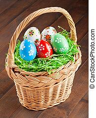 påsk eggar, in, korg