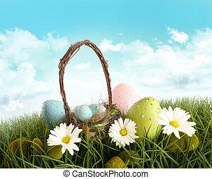 påsk eggar, med, korg, in, den, gräs