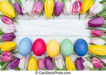 påsk eggar, med, tulpaner