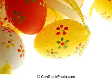 påsk eggar, med, utsmyckningar