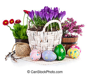 påsk eggar, med, vår blommar, in, korg