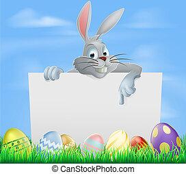 påsk eggar, och, kanin, underteckna
