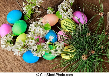 påsk eggar, på, a, blomma treen, filial