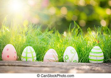 påsk eggar, på, grönt gräs