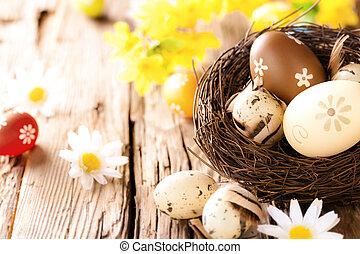 påsk eggar, på, trä, yta