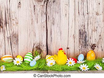 påsk eggar, på, ved