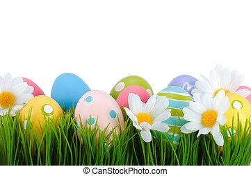påsk, färgade ägg, på, den, grass.