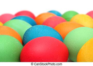 påsk, -, färgade ägg, vita
