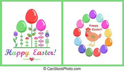 påsk, glas, barnslig, abstrakt, rolig, kort, blomningen, röra, hälsning, stil, målad, färgrik, ägg, höna