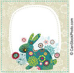 påsk, hälsningskort, kanin