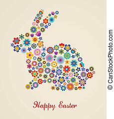påsk, hälsningskort, med, kanin, och, blommig, mönster