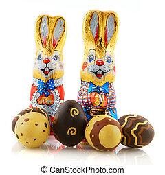 påsk, harar, med, choklad eggar