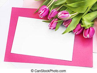 påsk, helgdag, hälsning, med, rosa, tulpaner