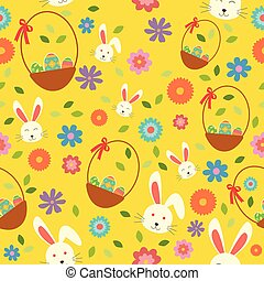påsk kanin, ägg, och, fjäder, tapet, seamless, mönster, bakgrund