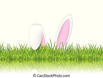 påsk kanin, örn, in, gräs