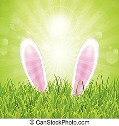 påsk kanin, örn, nestled, in, gräs, 1603