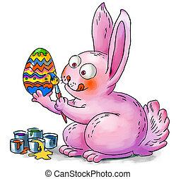 påsk kanin, dekorerar, eggs., hand-drawn