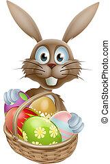 påsk kanin, med, ägg, korg
