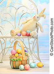 påsk kanin, med, ägg, på, stol