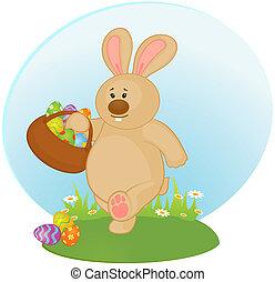 påsk kanin, med, färgad, egg.