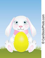 påsk kanin, med, gul egga
