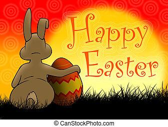 påsk kanin, med, målat ägg
