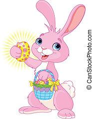 påsk kanin, med, påsk egga