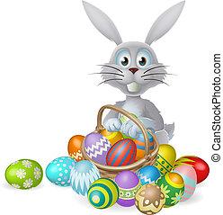 påsk kanin, och, choklad egga, värma sig