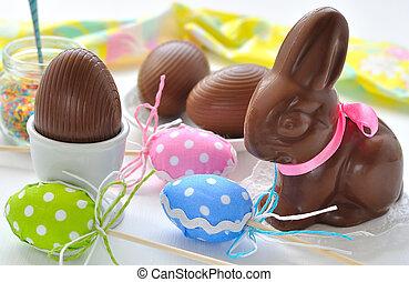 påsk kanin, och, choklad eggar