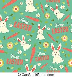 påsk kanin, och, fjäder, tapet, seamless, mönster, bakgrund