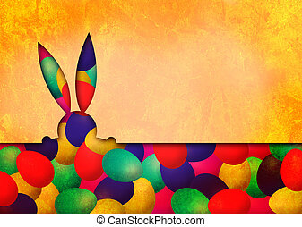 påsk kanin, och, påsk eggar