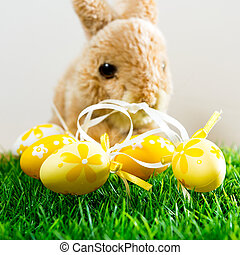 påsk kanin, på, fjäder, grönt gräs