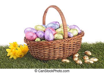 påsk korg, med, ägg