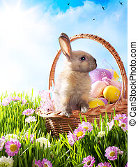 påsk korg, med, dekorerada ägg, och, den, påsk kanin