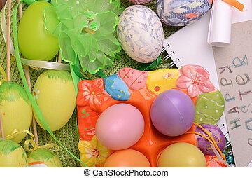 påsk, kort, inbjudan, ägg