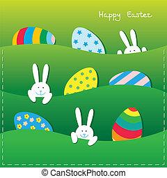 påsk, kort, med, rolig, kaniner, och, ägg