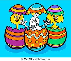 påsk, kycklingarna, tecknad film, illustration, kanin
